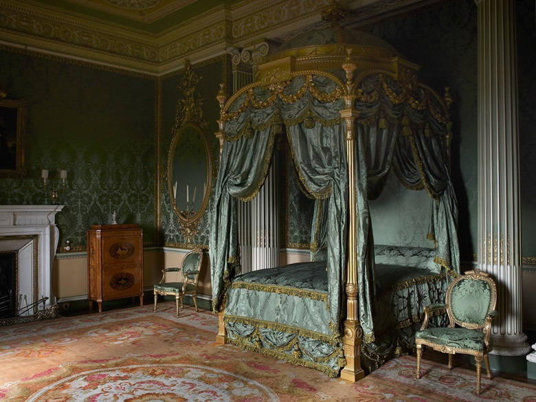 The State Bed (1773) designed by Thomas Chippendale Senior for the State Bedroom at Harewood House. Costing £400 for the frame, furnishings and mattresses, the bed was the most expensive piece of furniture ever created by the Chippendale firm. The bed was fully restored in 1999 following a grant from the Heritage Lottery Fund © Harewood House Trust. Photograph by Paul Barker