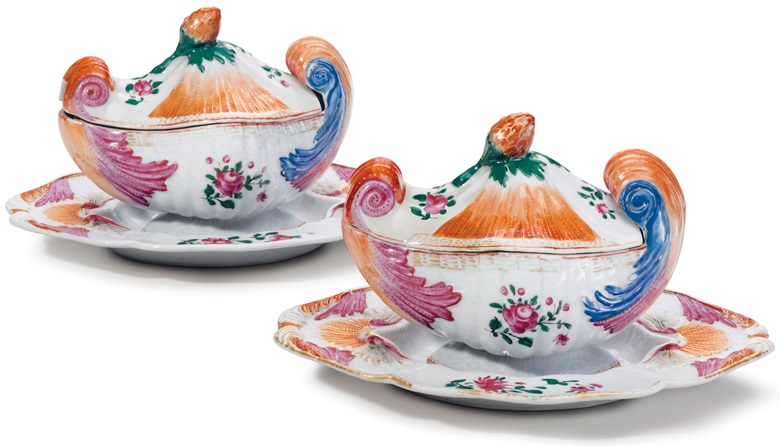 A pair of Chinese export famille rose shell-form sauce tureens, covers and stands, Qianlong period, circa 1765. 9  in (22.8  cm) wide overall. Estimate $10,000-15,000. This lot is offered in The Collection of David and Peggy Rockefeller English & European Furniture, Ceramics & Decorations, Part I on 9 May at Christie's in New York
