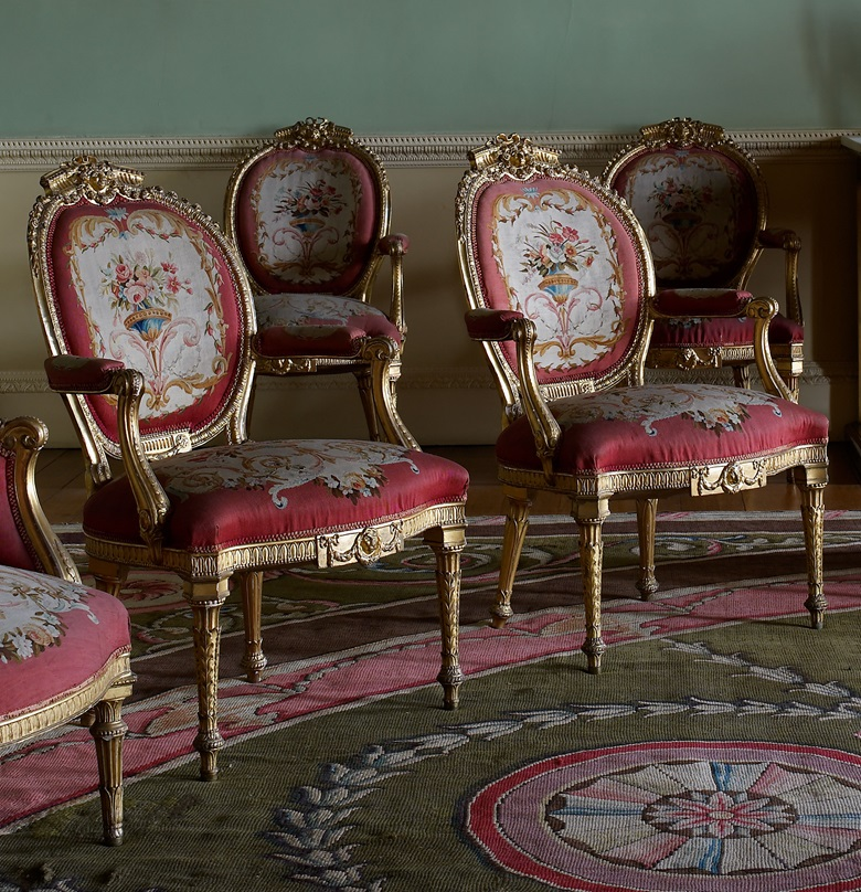 Chairs from the Music Room at Harewood House, which was the largest commission of Thomas Chippendale's career. © Harewood House Trust. Photograph by Paul Barker