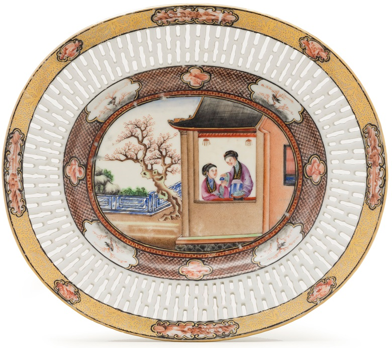 A basket stand — or undertray — from the Rockefeller service. Each of the scenes depicted on the service is unique
