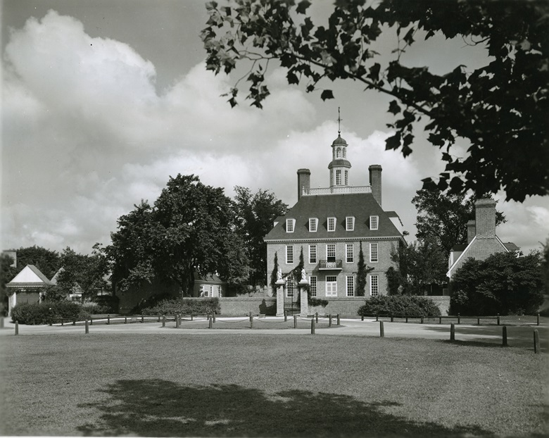The Governor's Palace in Colonial Williamsburg, once the home of Thomas Jefferson, photographed circa 1935 — two years after the unicorn chest was acquired for the museum-town. Photo by Frank Nivison. Special Collections, John D. Rockefeller Jr. Library, The Colonial Williamsburg Foundation.  Courtesy of the Rockefeller Archive Center