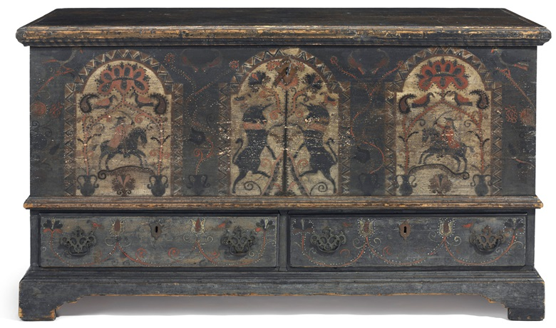 A Pennsylvania German unicorn-painted poplar chest-over-drawers, Bern township, Berks County, Pennsylvania, circa 1790. 29 in (73.7 cm) high, 52 in (135.6 cm) wide, 23 in (58.4 cm) deep. Estimate $40,000-80,000. This piece is offered in The Collection of Peggy and David Rockefeller in Spring 2018 at Christie's in New York