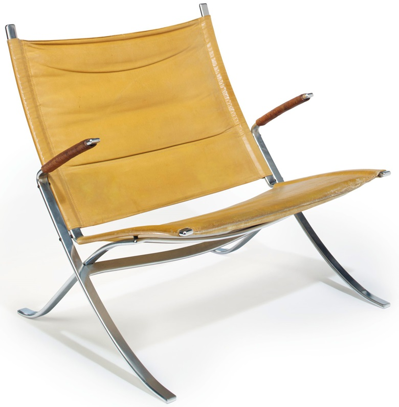 Preben Fabricius (1931-1984) and Jørgen Kastholm (1931-2007), an FK 82 lounge chair, designed 1968. 31.5 in (80 cm) high, 32 in (81.3 cm) wide, 27½ in (69.8 cm) deep. Sold for $3000, 14 Feb 2018, Online