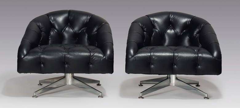 Ward Bennett (1918-2003), a pair of lounge chairs, circa 1965. 27¼ in (69.2  cm) high. Estimate $5,000-7,000. This lot is offered in the JF Chen Collection on 13 February 2018  at Christie's in New York