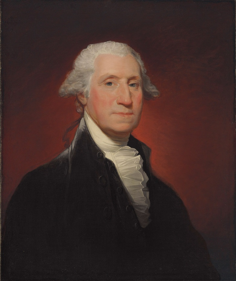 Gilbert Stuart (1755-1828), George Washington (Vaughan type), painted in 1795. 29⅛ x 24⅛  in (74 x 61.3  cm). Estimate $800,000-1,200,000. This lot is offered in The Collection of David and Peggy Rockefeller Art of the Americas, Evening Sale on 9 May at Christie's in New York