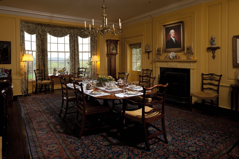 The Gilbert Stuart portrait of Washington hanging in the dining room of David and Peggy Rockefellers' home