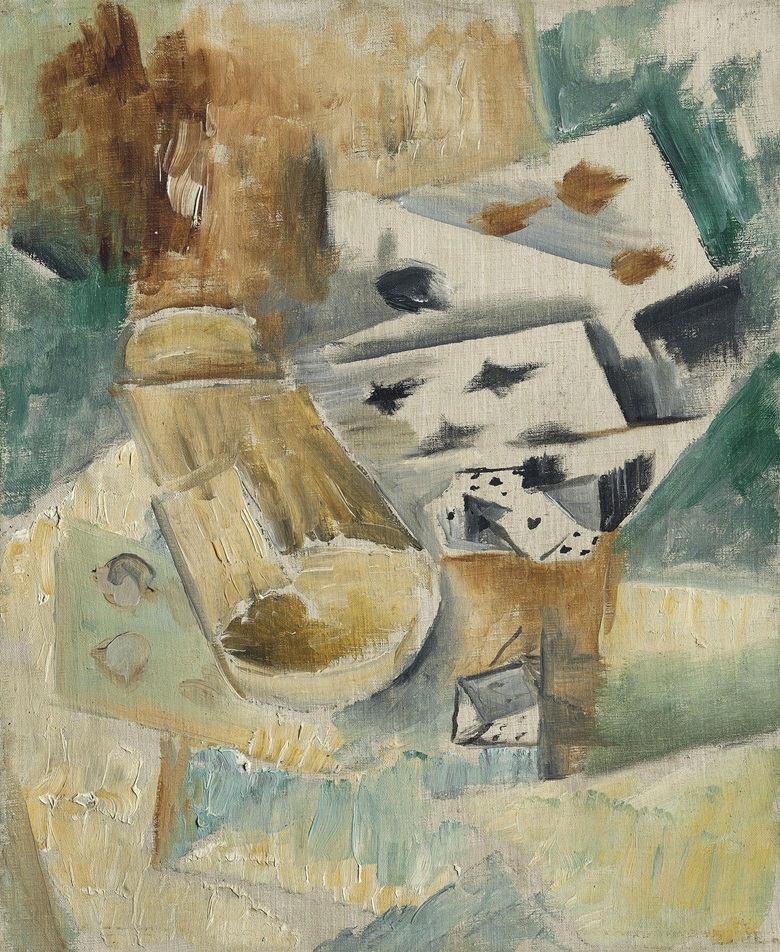 Georges Braque (1882-1963), Cartes et cornet à dés , painted circa 1910-1911. 11 x 9  in (28 x 22.8  cm). Estimate £500,000-800,000. This lot is offered in Impressionist and Modern Art Evening Sale  on 27 February 2018  at Christie's in London