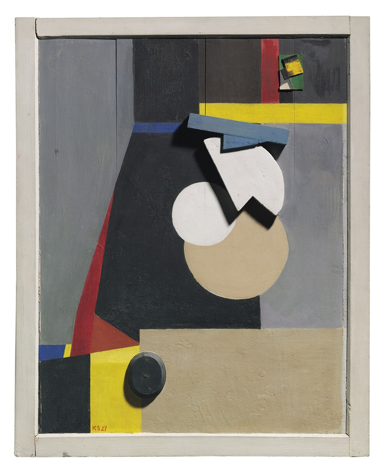 Kurt Schwitters (1887-1948), Richard Freytagbild (Das Richard-Freitag-Bild), executed in 1927. 33¾ x 27¼  in (85.8 x 69.2  cm). Estimate £500,000-700,000. This lot is offered in Impressionist and Modern Art Evening Sale  on 27 February 2018  at Christie's in London