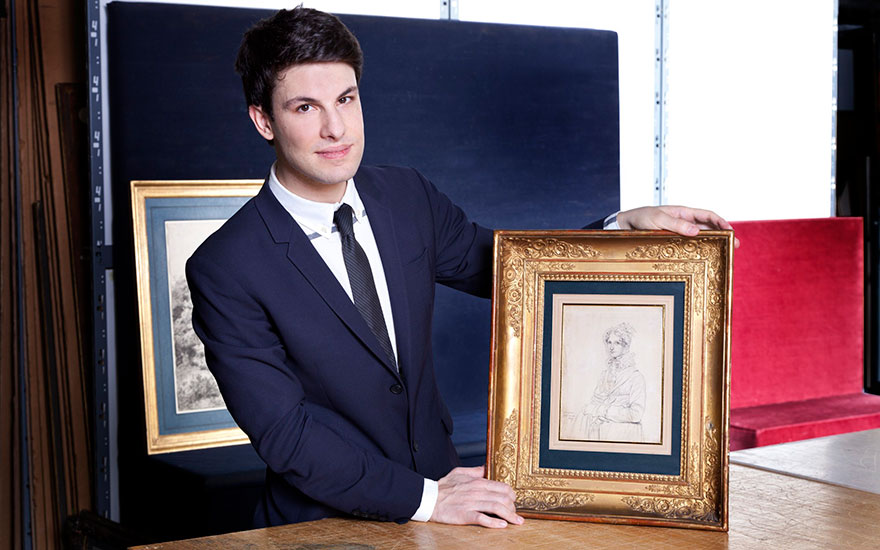 Christie's specialist Furio Rinaldi with Louise Sophia Enrietta Catharina Ritter (Fräulein Ritter), an 1817 Ingres drawing from The Collection of Peggy and David Rockefeller