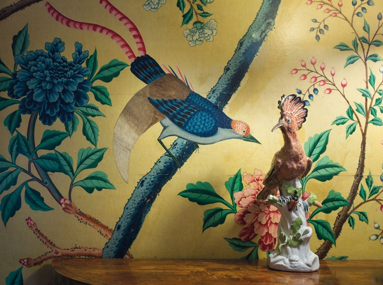 The Meissen hoopoes were displayed in the dining room of the Rockefellers' 65th Street home in New York, which was decorated with original 18th-century wallpaper