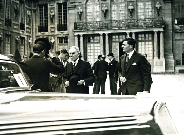 John D Rockefeller, Jr. funded historic restoration of many war-torn sites in France, and attended special ceremonies at the Palace of Versailles with son David in 1936. Photo The New York Times