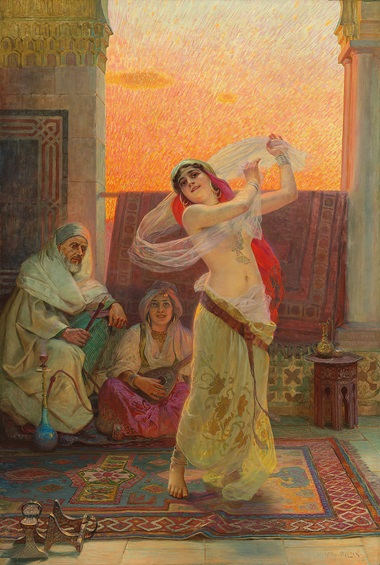 Otto Pilny (Swiss, 1866-1938), An Oriental Beauty Dancing. 70½ x 47½ in (179 x 120.6 cm). Estimate £12,000-18,000. This lot is offered in Interiors Including Property from the Collection of Sir David and Lady Tang and Property from Bywell Hall, Northumberland and Property from Howe on 31 January 2018 at Christie's in London