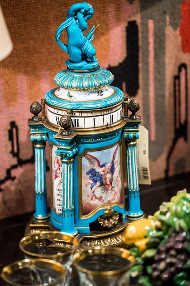 An ormolu-mounted Sèvres-style turquoise-ground porcelain striking vase clock, pendule a cercles tournants, late 19th century. 17¾  in (45.7  cm) high overall. Estimate £1,000-1,500. This lot is offered in Interiors Including Property from the Collection of Sir David and Lady Tang and Property from Bywell Hall, Northumberland and Property from Howe on 31 January 2018  at