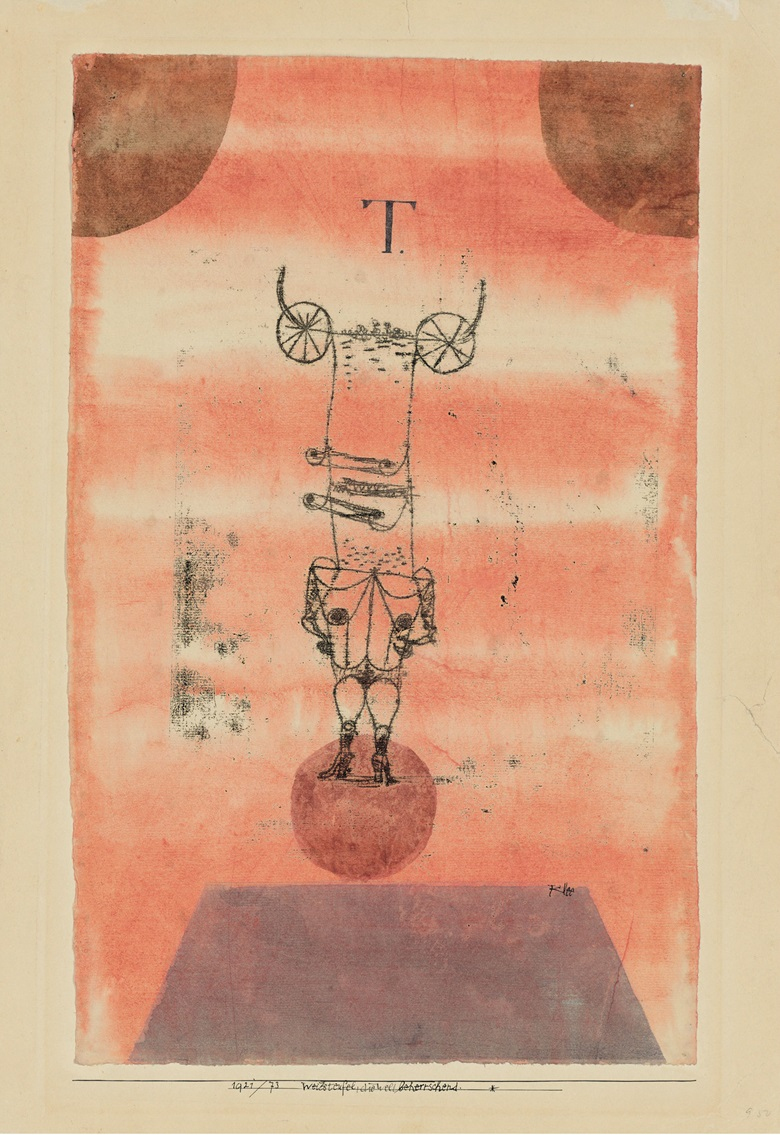 Paul Klee (1879-1940), Weibsteufel, die Welt beherrschend. (She-Devil, Dominating the World), executed in 1921. Artists mount 20¼ x 14⅛  in (51.3 x 35.7  cm). Estimate £200,000-300,000. This lot is offered in The Art of the Surreal Evening Sale on 27 February 2018  at Christie's in London