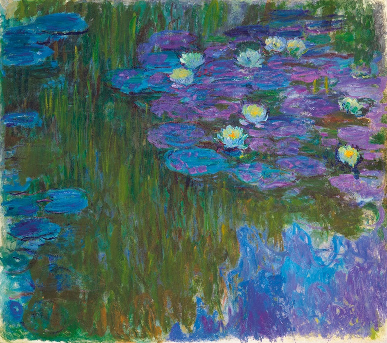 Claude Monet (1840-1926), Nymphéas en fleur, circa 1914-1917. 63 x 70⅞  in (160.3 x 180  cm). Estimate on request. This lot is offered in The Collection of David and Peggy Rockefeller 19th & 20th Century Art, Evening Sale on 8 May at Christie's in New York