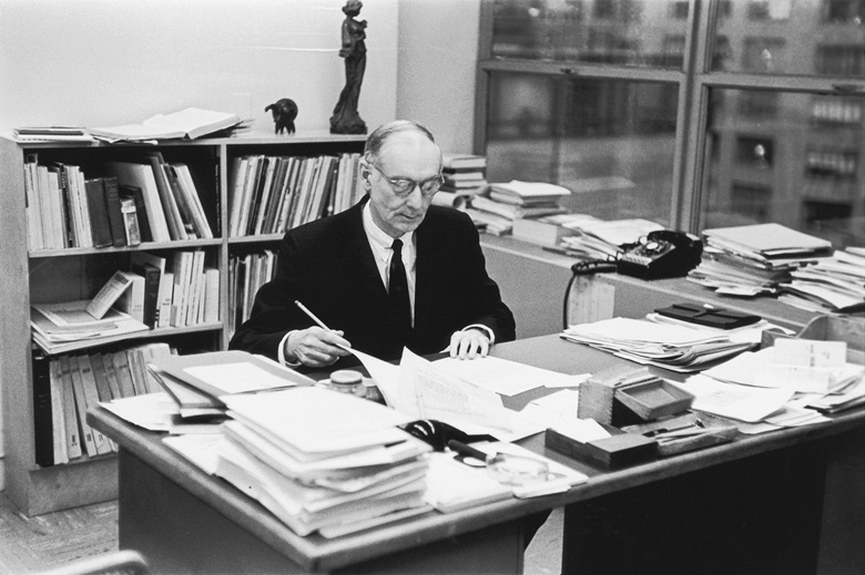Alfred Barr in his office at MoMA, 1961. Photo Fred W. McDarrahGetty Images