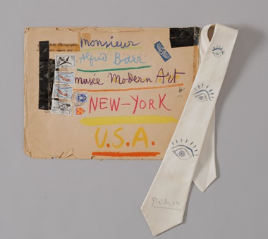 Pablo Picasso. Hand-decorated envelope and tie sent by Picasso, to Alfred H. Barr, Jr. 1957. The Museum of Modern Art Archives, New York. Photo © 2018, The Museum of Modern Art, New YorkScala, Florence. Artwork © Succession PicassoDACS, London 2018