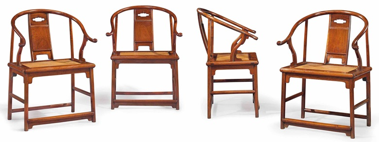 An extremely rare and important set of four huanghuali horseshoe-back armchairs, quanyi, China, Ming dynasty, 17th century. Sold for $9,685,000 on 17 March 2015 at Christie's in New York