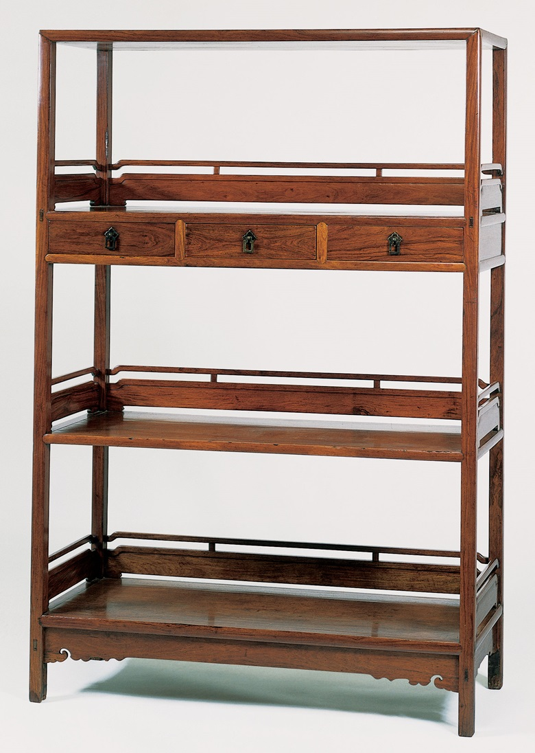 A huanghuali three-shelf bookcase, jiage, 17th century. Sold for $244,500 on 18 September 1997 at Christies in New York
