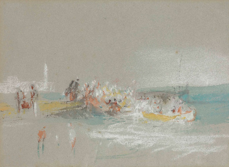 Joseph Mallord William Turner, R.A. (London 1775-1851), Figures by the Shore at Margate. 5¼ x 7¼  in (13.6 x 18.4 cm). Estimate $60,000-100,000. This lot is offered in Old Master & British Drawings on 30 January 2018  at Christie's in New York