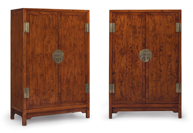A superb and very rare pair of Huanghuali square-corner cabinets, Fangjiaogui, 17th-18th century. 70⅞  in (179.9  cm) high, 47¼  in (120  cm) wide, 21⅝  in (54.9  cm) deep. Sold for $1,332,500 on 22-23 March 2018 at Christie's in New York