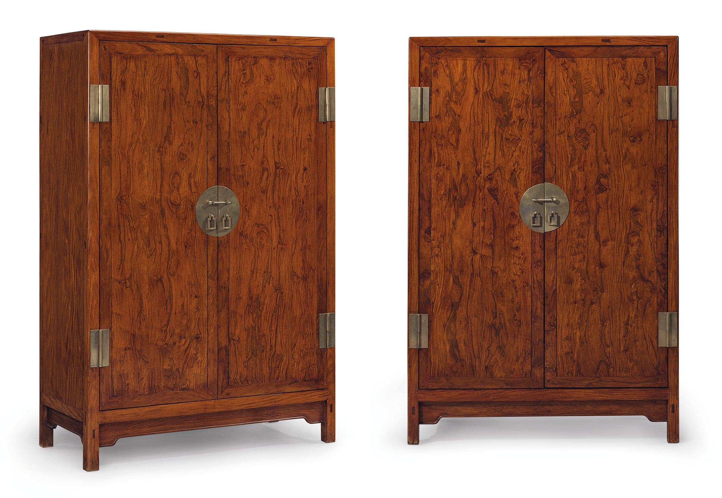 A Superb And Very Rare Pair Of Huanghuali Square Corner Cabinets,  Fangjiaogui, 17th