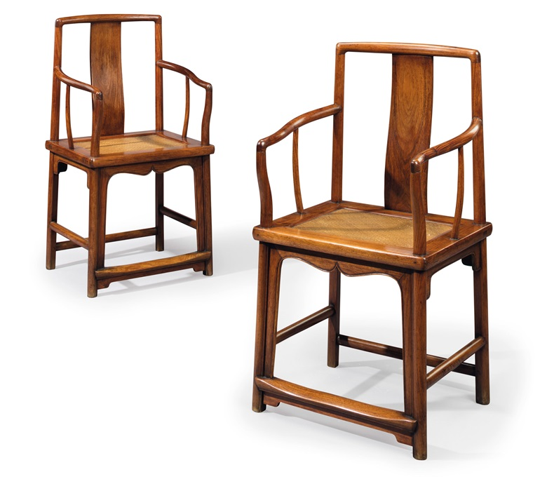 A pair of huanghuali southern officials hat armchairs, nanguanmaoyi, 17th  century. 37½ in - Classical Chinese Furniture: A Collecting Guide Christie's