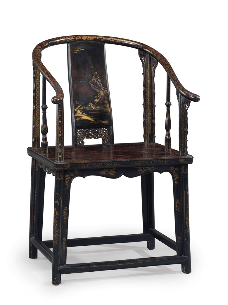 A Very Rare Lacquered Softwood Horseshoe Back Armchair Quanyi Late 17th Century