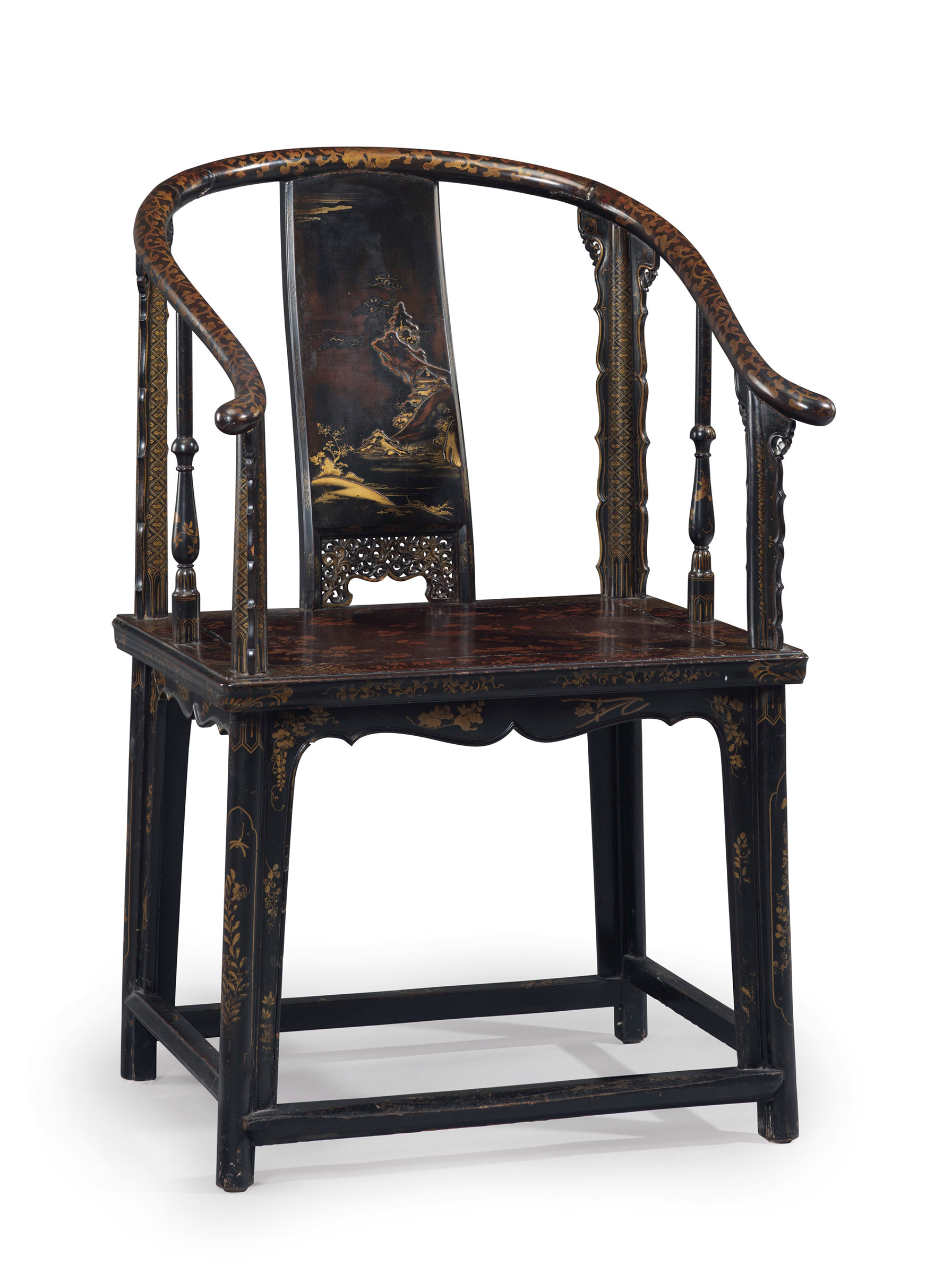 A Very Rare Lacquered Softwood Horseshoe Back Armchair, Quanyi, Late 17th  Century. 40½ In (102.8 Cm) High, 20½ In (52.1 Cm) Wide, 26½ In (67.3 Cm)  Deep.