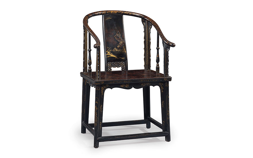A very rare lacquered softwood horseshoe-back armchair, Quanyi, Second half 17th century. 40½  in (102.8  cm) high, 20½  in (52.1  cm) wide, 26 ½  in (67.3  cm) deep. Sold for