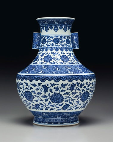 A large blue and white hu-form vase, Qianlong six-character seal mark in underglaze blue and of the period (1736-1795). 20 ¼  in (51.5  cm) high. Estimate $60,000-80,000. This lot is offered in Fine Chinese Ceramics and Works of Art on 22-23 March 2018  at Christie's in New York