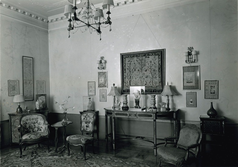 In this image of the Rockefeller family home in New                  York, the relief can be seen resting on the table on the                  left of the picture
