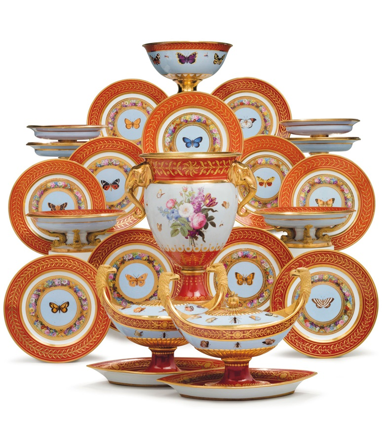 The 'Marly Rouge' service a Sèvres porcelain iron-red and sky-blue ground part dessert service made for Napoleon I, circa 1807-09. 13⅛  in (33.3  cm) high, the cooler. Estimate $150,000-250,000. This lot is offered in The Collection of David and Peggy Rockefeller English & European Furniture, Ceramics & Decorations, Part I on 9 May at Christie's in New York