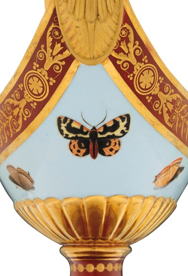 The director of Sèvres in 1809 was Alexandre Brongniart, a keen naturalist, which explains the butterfly motif