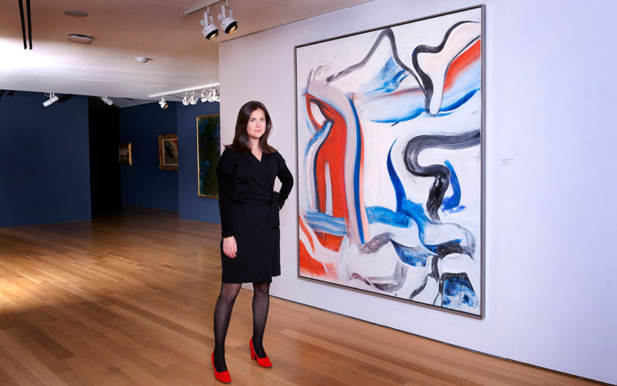 Sara Friedlander, Head of Post-War and Contemporary Art at Christies in New York, with Willem de Kooning's Untitled XIX, painted in 1982. Artwork © 2018 The Willem de Kooning