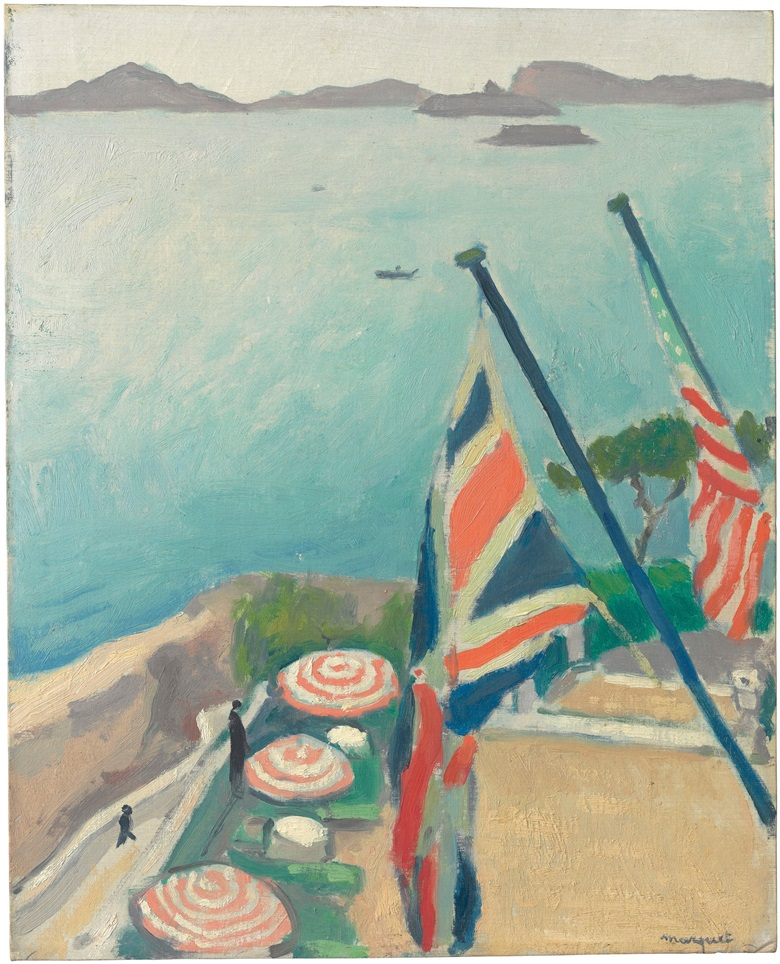 Albert Marquet (1875-1947), Terrasse aux drapeaux, Hôtel de la Réserve, painted in Marseille in 1919. Oil on board. 16 x 12⅞ in (40.6 x 32.7 cm). Estimate $200,000-300,000. This work is offered in the Collection of Peggy and David Rockefeller in May 2018 at Christies in New York