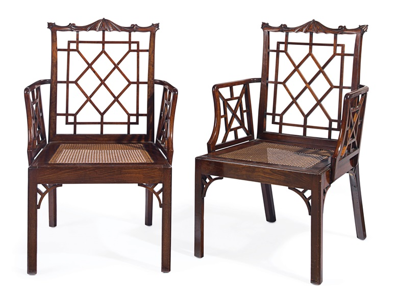 A pair of George II mahogany armchairs, circa 1755. Estimate $15,000-25,000. This lot is offered in The Collection of Peggy and David Rockefeller in Spring 2018 at Christie's in New York