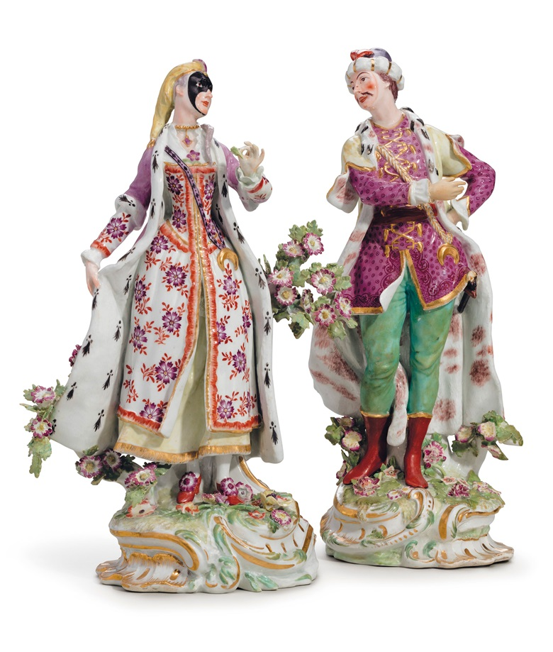 A pair of Chelsea porcelain figures of Vauxhall singers, circa 1760. 12¾ in (32.3 cm) high. Estimate $7,000-10,000. This lot is offered in The Collection of Peggy and David Rockefeller in Spring 2018 at Christie's in New York