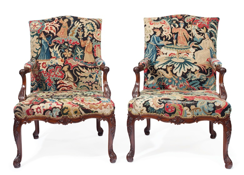 A pair of George II mahogany library armchairs attributed to Wright and Elwick, circa 1755. Estimate $50,000-80,000. This lot is offered in The Collection of Peggy and David Rockefeller in Spring 2018 at Christie's in New York