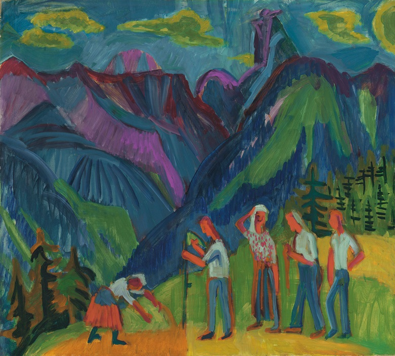 Ernst Ludwig Kirchner (1880-1938), Bergheuer, Heuer auf der Alp, 1920-21. Oil on canvas. 35½ x 39½ in (90.2 x 100.3 cm). Estimate £600,000-800,000. This work is offered in the Impressionist and Modern Art Evening Sale on 27 February at Christie's in London
