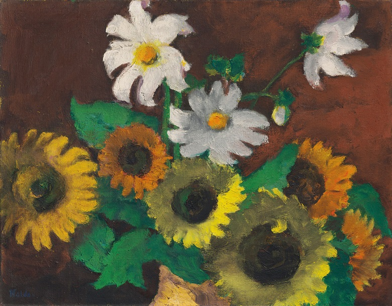 Emil Nolde (1867-1956), Sonnenblumen und weisse Dahlien, 1941. Oil on canvas. 26 x 32⅞ in (66 x 83.5cm). Estimate £600,000-800,000. This work is offered in the Impressionist and Modern Art Evening Sale on 27 February at Christie's in London