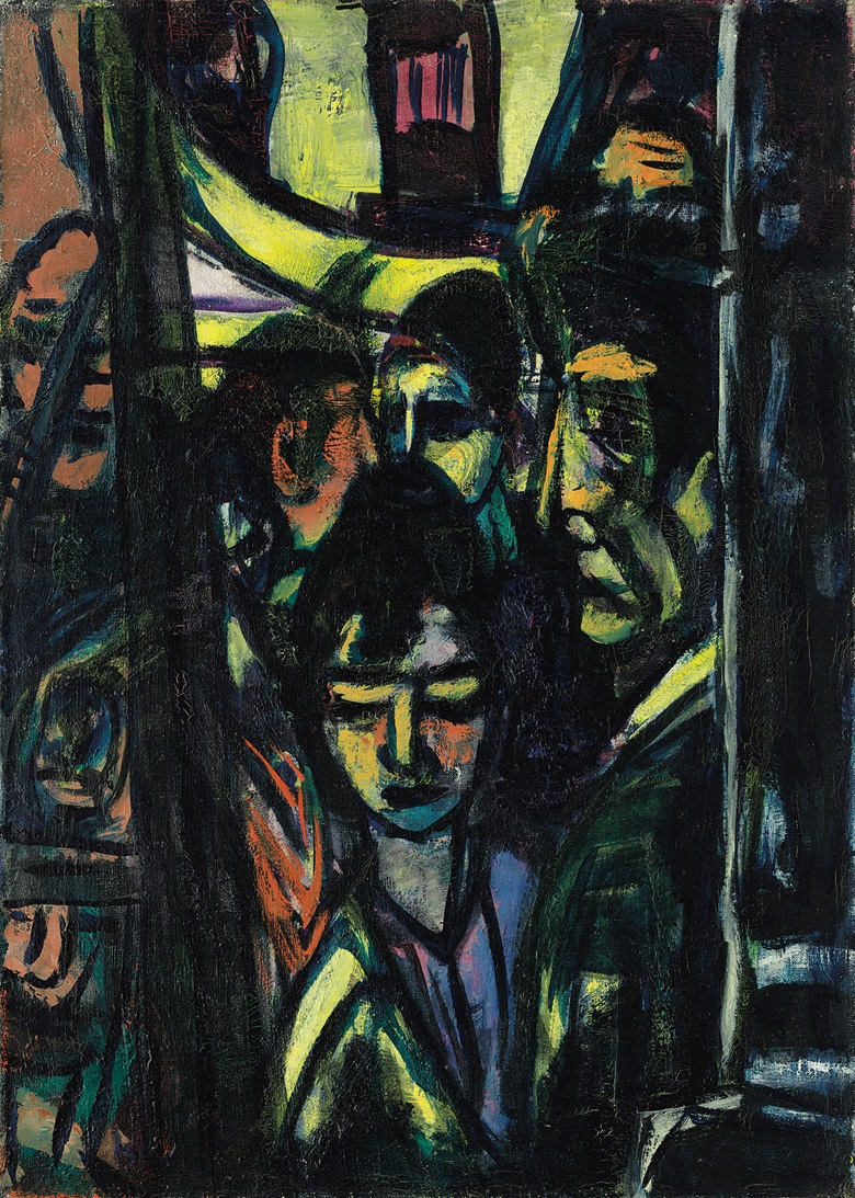 Max Beckmann (1884-1950), Café (Hotel de l'Europe), 1947-48. Oil on canvas. 27⅝ x 20 in (70.2 x 50.7 cm). Estimate £700,000-1,000,000. This work is offered in the Impressionist and Modern Art Evening Sale on 27 February at Christie's in London