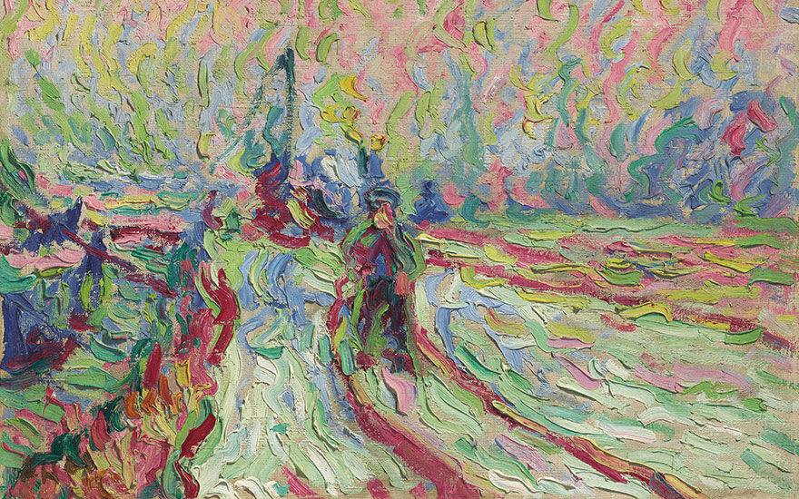 Detail of Erich Heckel (1883-1970), Hafenbahn im Winter, 1906. Oil on canvas. 19 x 27¾ in (48.3 x 70.3 cm). Estimate £200,000-300,000. This work is offered in the