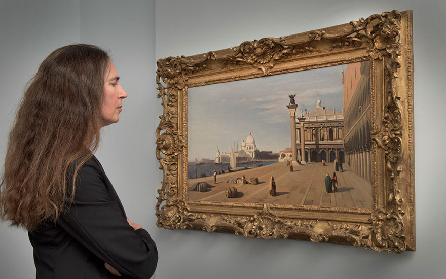 Bianca Arrivabene, Deputy Chairman of Christie's Italy, with Corot's Venise, vue du Quai des Esclavons, painted in 1845