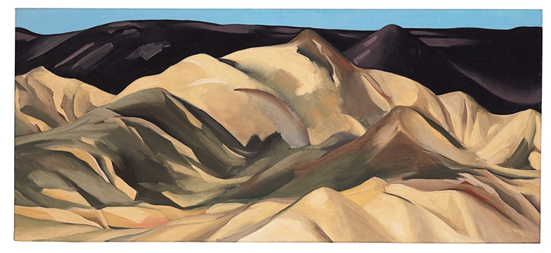 Georgia OKeeffe (1887-1986), Near Abiquiu, New Mexico, painted in 1931. 16 x 36  in (40.6 x 91.4  cm). Estimate $3,000,000-5,000,000. This lot is offered in The Collection of David and Peggy Rockefeller Art of the Americas, Evening Sale on 9 May at Christie's in New York © 2018 Georgia OKeeffe Museum  Artists Rights Society (ARS), New York
