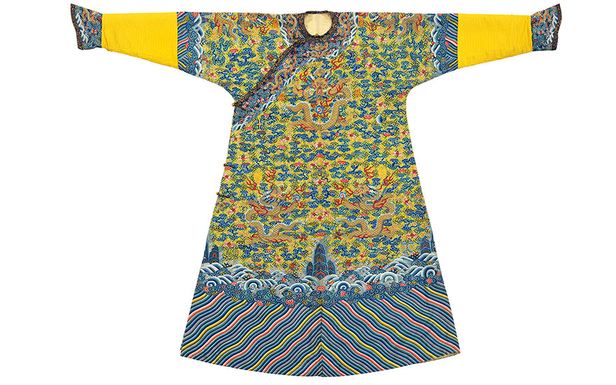 A magnificent imperial yellow-ground  kesi 12-symbol dragon robe, mangpao. 19th century. Estimate $80,000-120,000. This lot is offered in Fine Chinese Ceramics and Works of Art on 22-23 March
