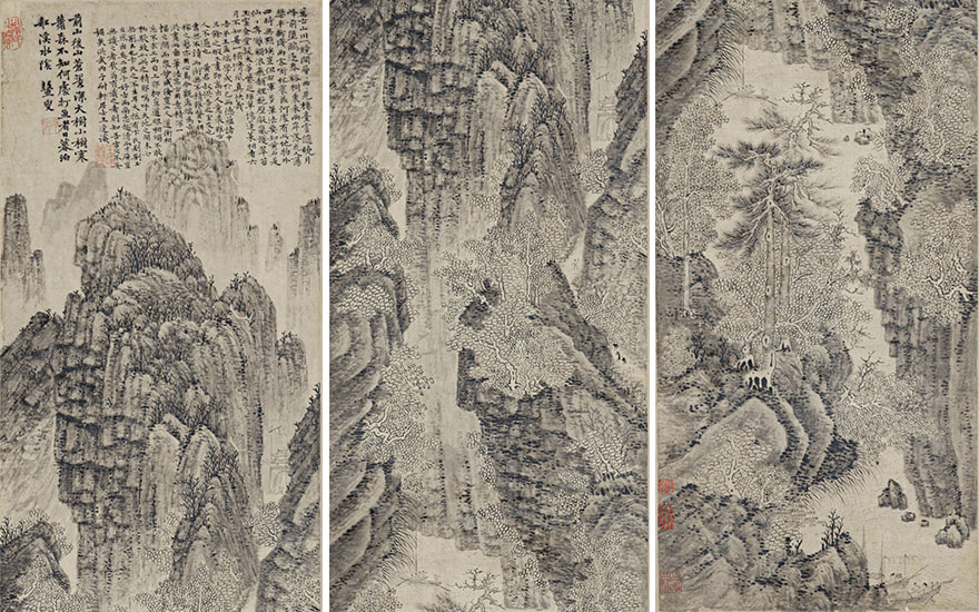 Wand Fu (1362-1416), Mountainous Landscape. 56⅝ x 12⅝ in (143.9 x 32.2 cm). Estimate $380,000-430,000. This lot is offered in Fine Chinese Paintings on 20 March 2018 at Christie's in New York.