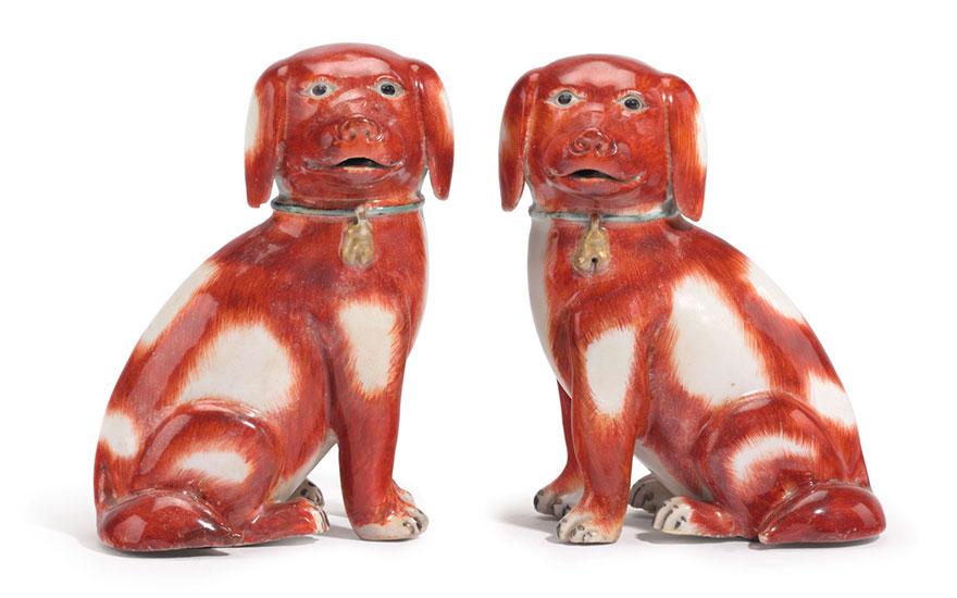 1 Pair Chinese New Year of the Dog Ceramic Happy Dog Figurines