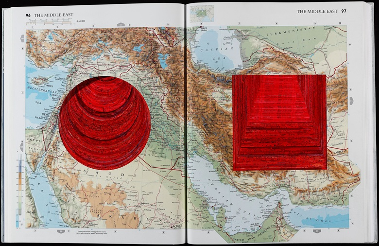 Anish Kapoor (b. 1954), Turning the World, World Atlas with hand-painted dye. Open book dimensions 14 12 x 23 34 x 34 in. Slipcase dimensions 15 38 x 11 916 x 2 in. Book closed 14 78 x 11 516 x 1 58 in. Estimate $6,000-8,000. This work is offered in the Contemporary Portfolio sale 23 February - 9 March, online.