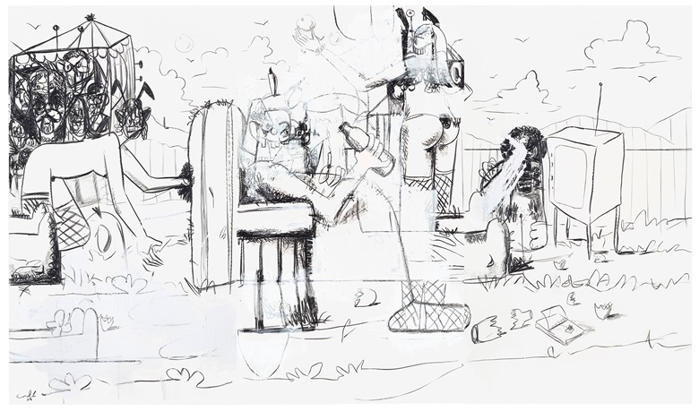 George Condo (b. 1957), Mental Landscape. 70 x 120 in (177.8 x 304.8 cm). Estimate $150,000-200,000. This work is offered in the Post-War and Contemporary Art Sale on 1 March at Christie's in New York